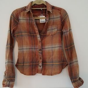 Urban Outfitters orange flannel button up XS